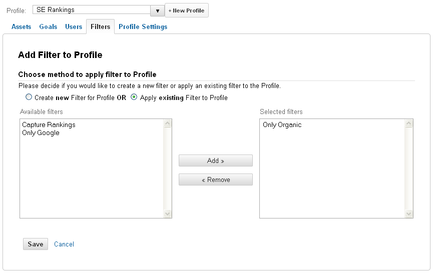 apply existing Filter to Profile