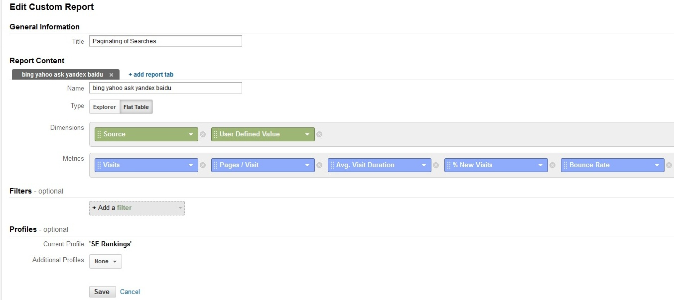 custom report paginating of searches